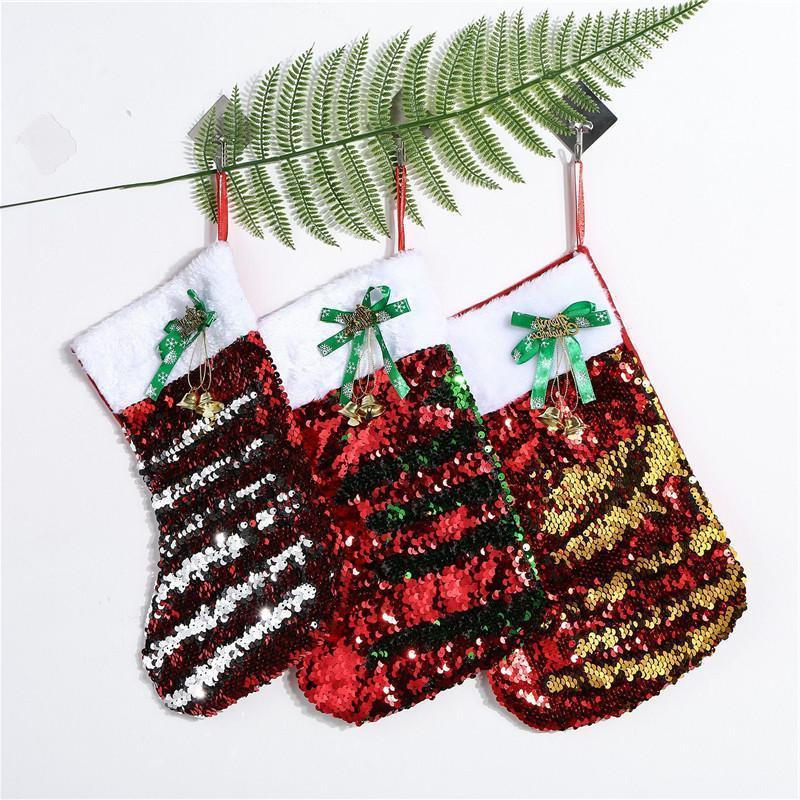 20 * 30 cm Noel Çorap Hediye Çanta Tuval Bling Bling Noel Noel Çorap Büyük Boy Sequins Dekoratif Çorap Çanta Toptan