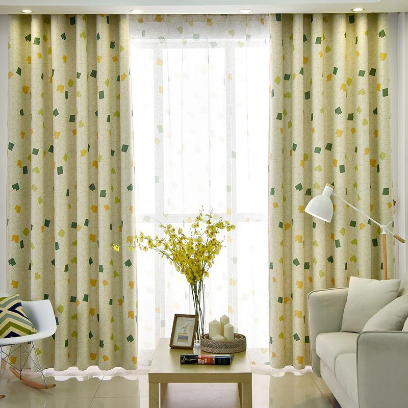 Cortinas de diamantes impresos pastorales de la tapa para niños Tela de dormitorio para la sala de estar cortinas decorativas