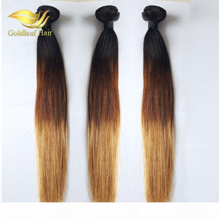 Rubia Human Hair Weaves 1b 4 27 Malaysina Peruana Brailano Straight Wavy Virgin 3 Bundles Three Tone Ombre Hair Trows Extensions