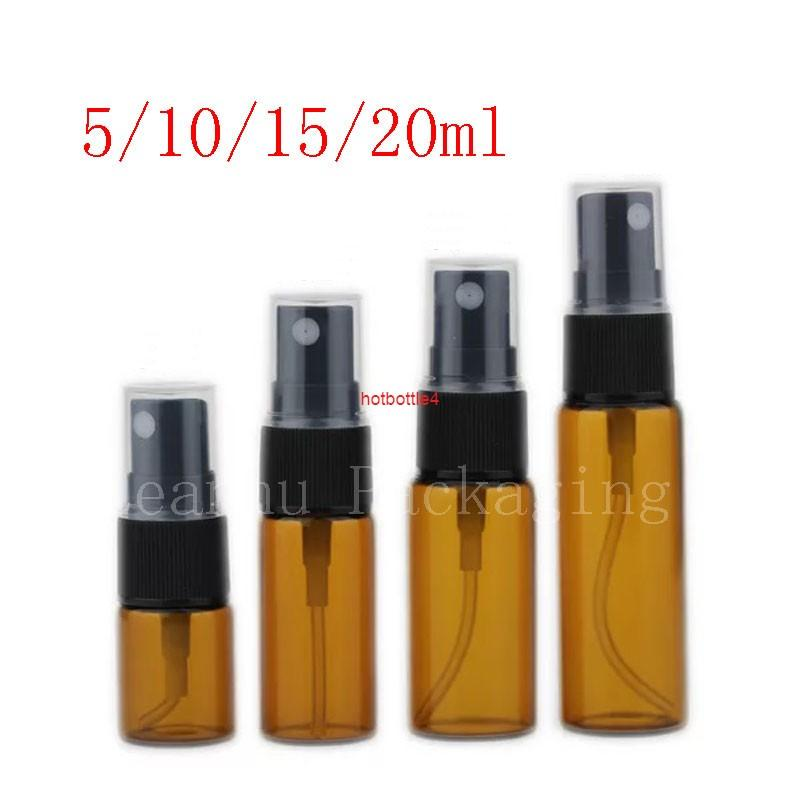 5 ml 10 ml 15ml 20 ml Amber Cam Sprey Şişesi Örnek Mist Püskürtücü Parfüm Konteyner Doldurulabilir Atomizer Flakon 100 ADET / Lotgood Kaliteli