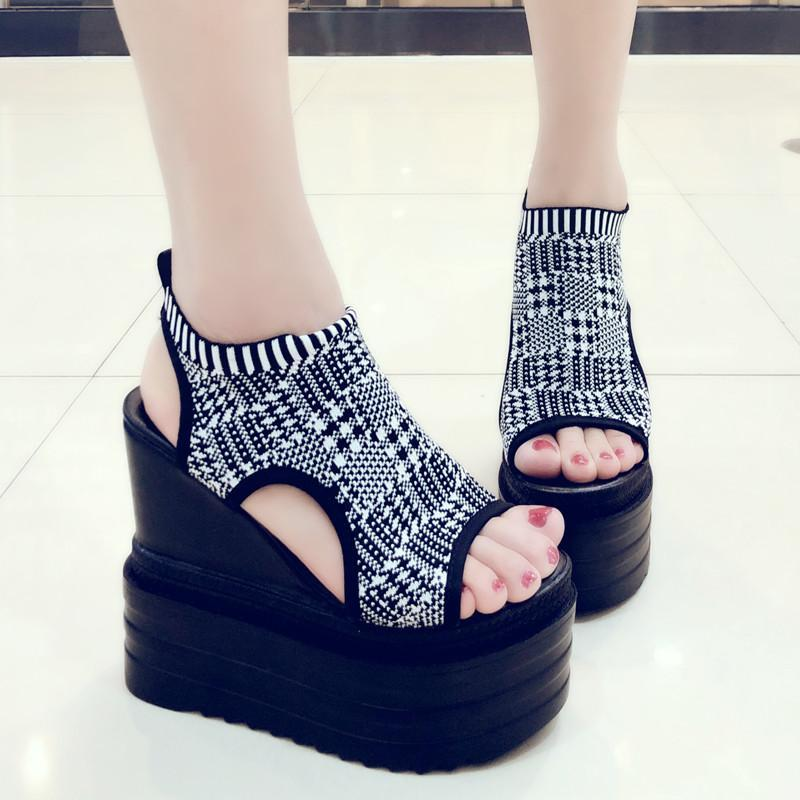 Sommer Mode Frauen Sandalen 13 cm Heels Keilplattform Schuhe Bling Leder High Heels Sandalen Für Frauen Gladiator Turnschuhe