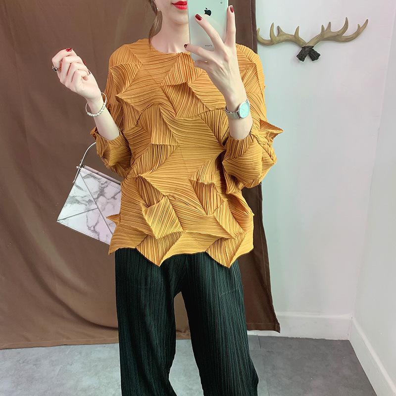 LANMREM 2020 Antumn New Casual Fashion Women Loose Plua Solid Color Pleated Shirt Seven-point Sleeve TC088 T200429