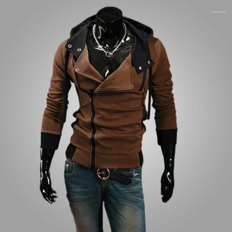 2020 Autumn Clothing Men's Hooded Jacket Personality Fashion Handsome Cardigan Slim Side Zipper Light and Breathable Sweater1