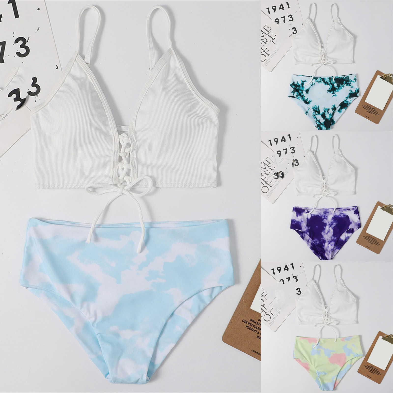 Mulher natação terno sexy biquini 2021 vintage swimwear mulheres push-up acolchoado Bra praia dois pedaços biquini conjunto de maiô