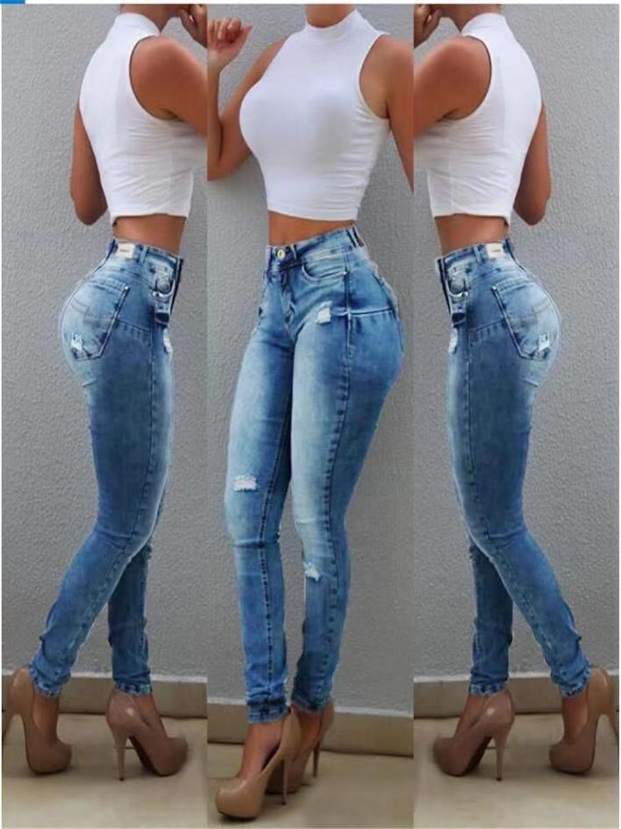 Sexy Hoge Tailles Jeans Vrouw PERZIK Push Up Hip Skinny Denim Broek Vriendje Jean Voor Vrouwen Elastische Leggings Blauw Jeans W0104