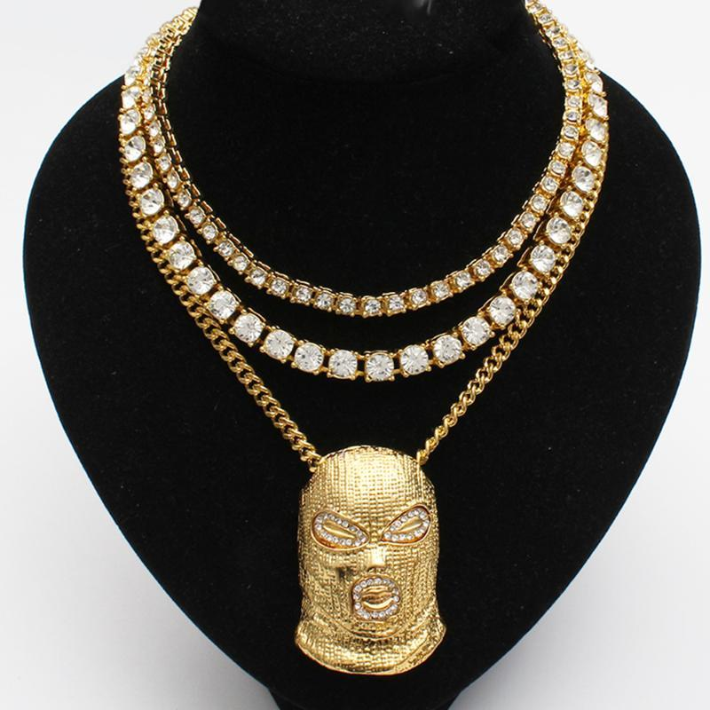 Men Iced Out Gold Bling Miami Cuban Choker Link And Ski Mask Pendant + 8mm And 5mm Tennis Chain Hip Hop Necklace Jewelry Set