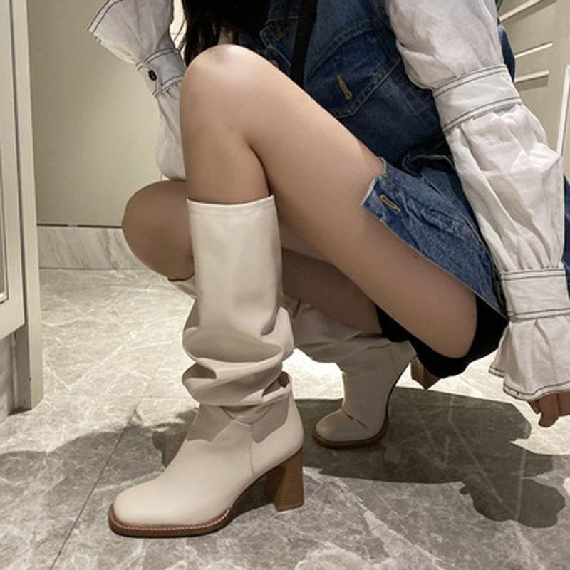 Boots Siddons 2021 взлетно-посадочная полоса женщины колено высокая мода квадратный носок кожаный скольжение на коренастые каблуки плиссированные туфли долго