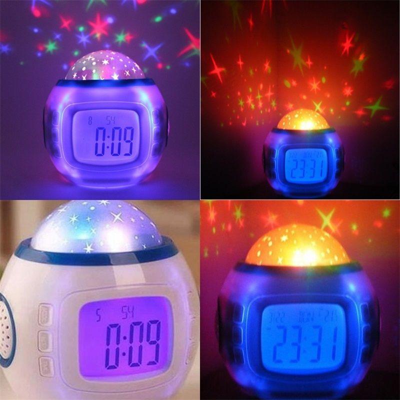 Ursprünglicher Sternenhimmel-Projektionsuhr-Takt bunte Blue Screen-Persönlichkeit digitaler Wecker-Musik-Lampen Home Dekorieren 19xj F2