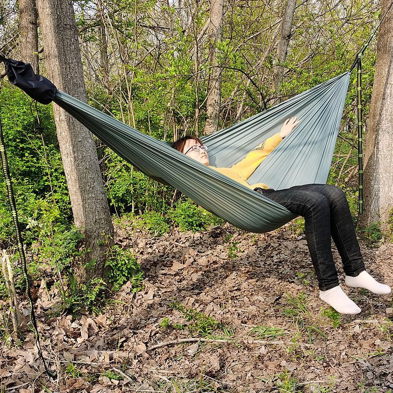 Outdoor Leisure Double canvas Hammocks Ultralight Camping Hammock with backpack Garden hanging chair