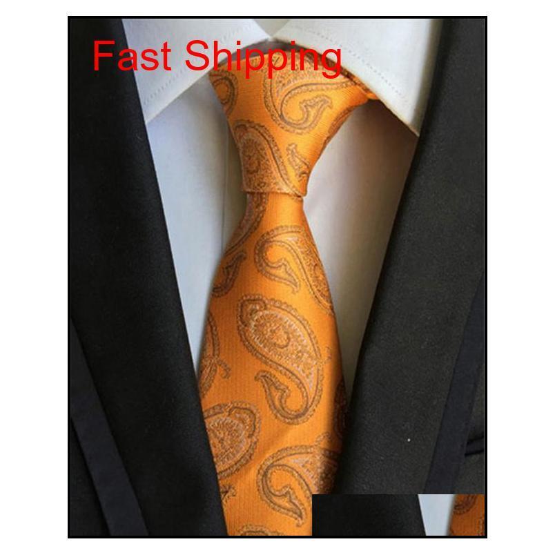 Yüksek kaliteli boyun bağ erkek bağları jakarlı çiçek çizgili iş takım elbise kravatlar erkekler için kravatlar bir qyllfx homes2007