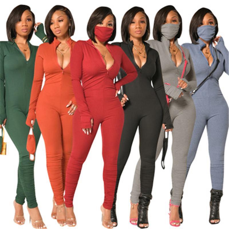 Женщины сплошные цветовые комбинации Мода Зачаточная тенденция с длинным рукавом на молнии шеи длинные брюки Длинные брюки.