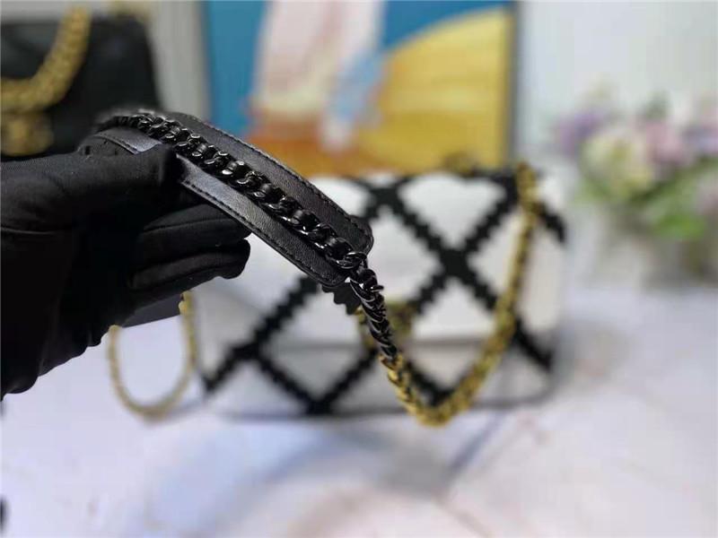 Drei mit Schulterelemente 2021 Taschen Flap Black Ankunft Leder Häkeln Designer Metall Neue Stoff Weiße Kette Handtaschen Luxurys GFOMX