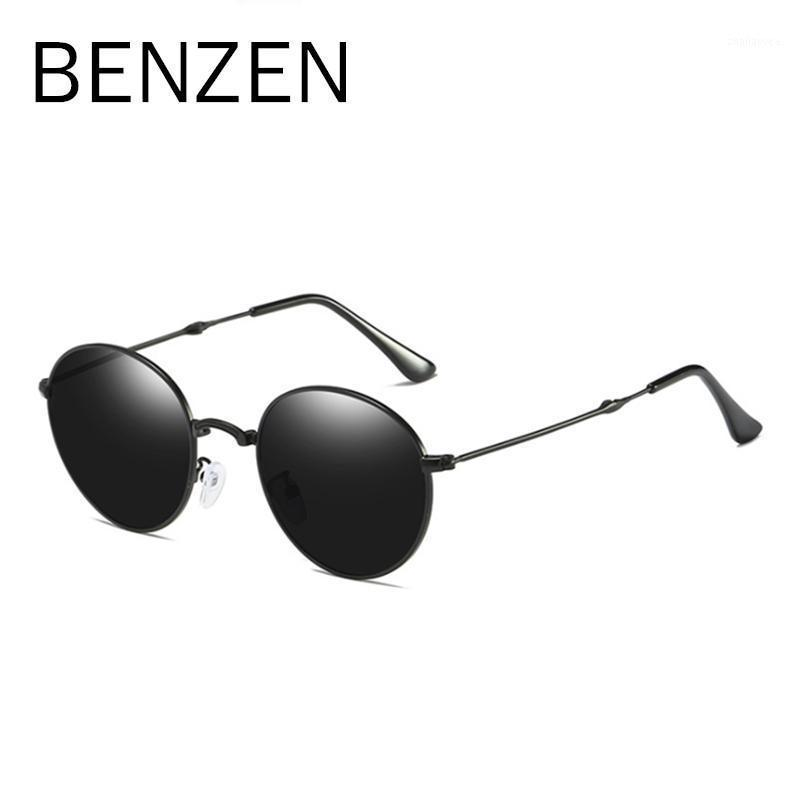 Benzen Sunglasses Lunettes Sun Hommes Cadre en métal Noir Femmes polarisées Femmes Mesdames Lunettes Verres Conduire Rounding rond avec étui 63821 MTSWL