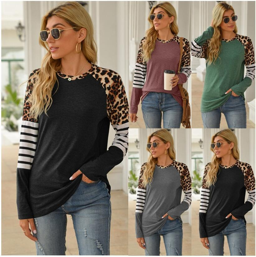 2021 novo desgaste popular das mulheres na Europa e na América na primavera e no verão do teste padrão do leopardo que splicing manga longa redonda t-shirt