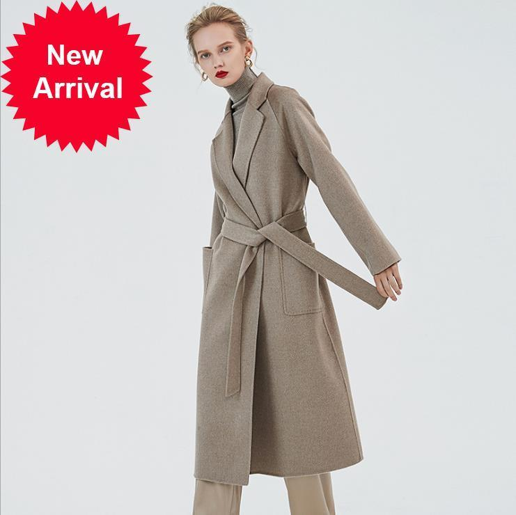 Çift yüz kaşmir kemer ceket kadınlar için basit zarif ceket