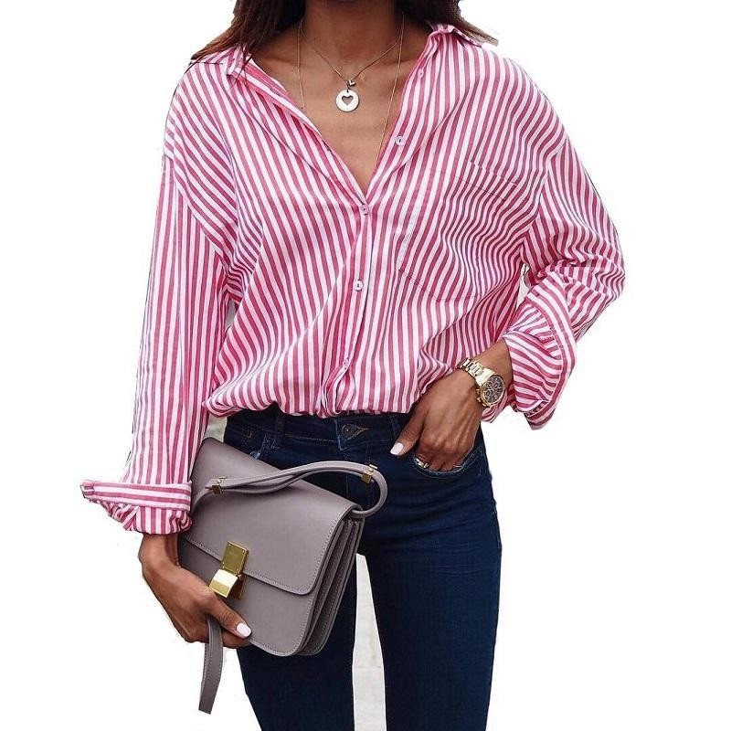 Women Blouses Summer Women Tops Casual Loose Vertical Striped Long Sleeve Blouse Shirt Blusa Feminina Vestido Plus Size