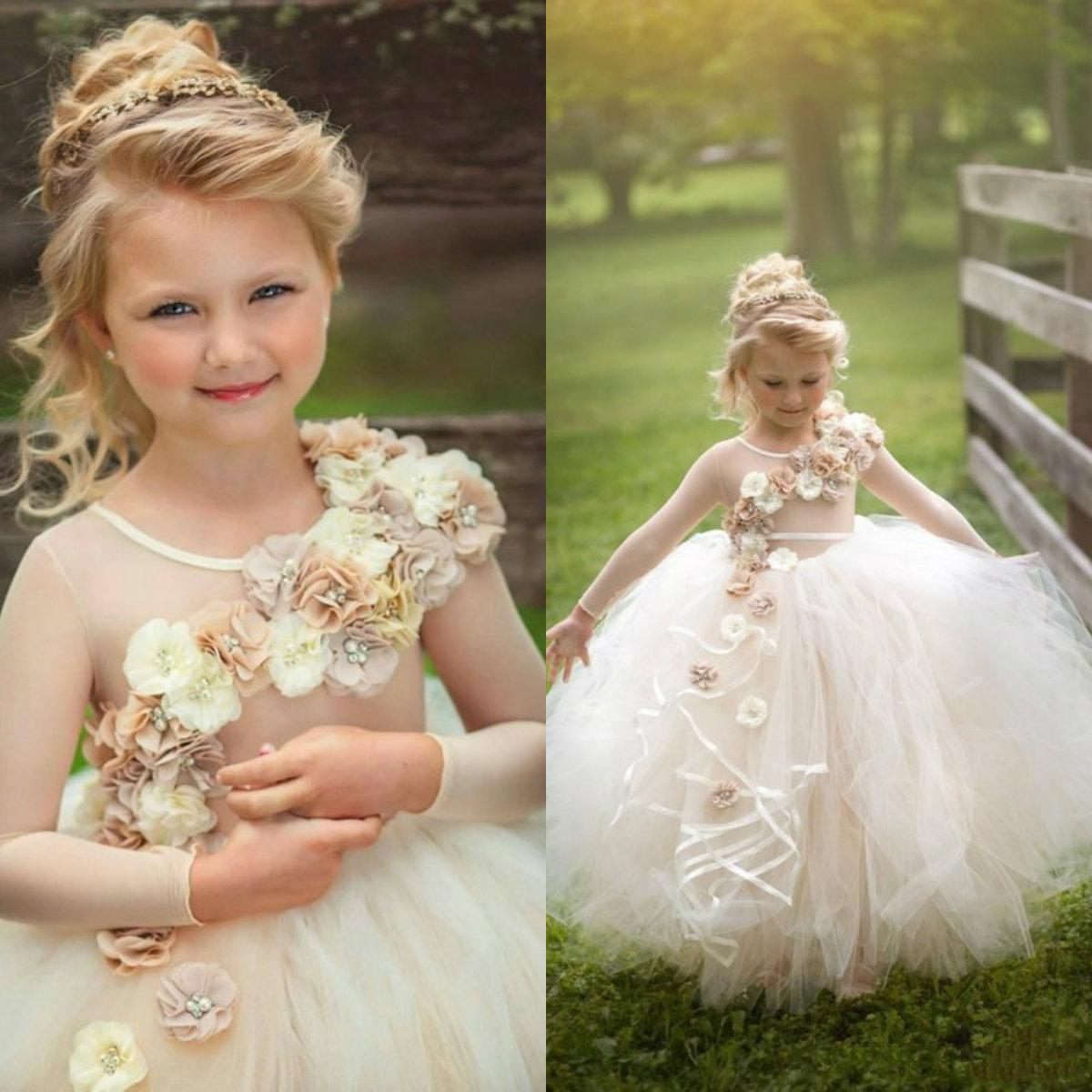 2019 Flower Girl Dresses Long Sleeve Hand Made Flowers Beaded Pearls Kids Ball Gowns Communion Pageant Formal Party Prom Dress Robes De Fête