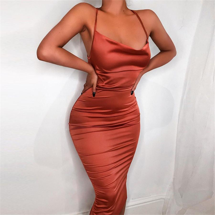 Sangle Spaghetti Backless Womens Robes Sans manches Skinny Skinny pour Femmes Casual Femme Vêtements