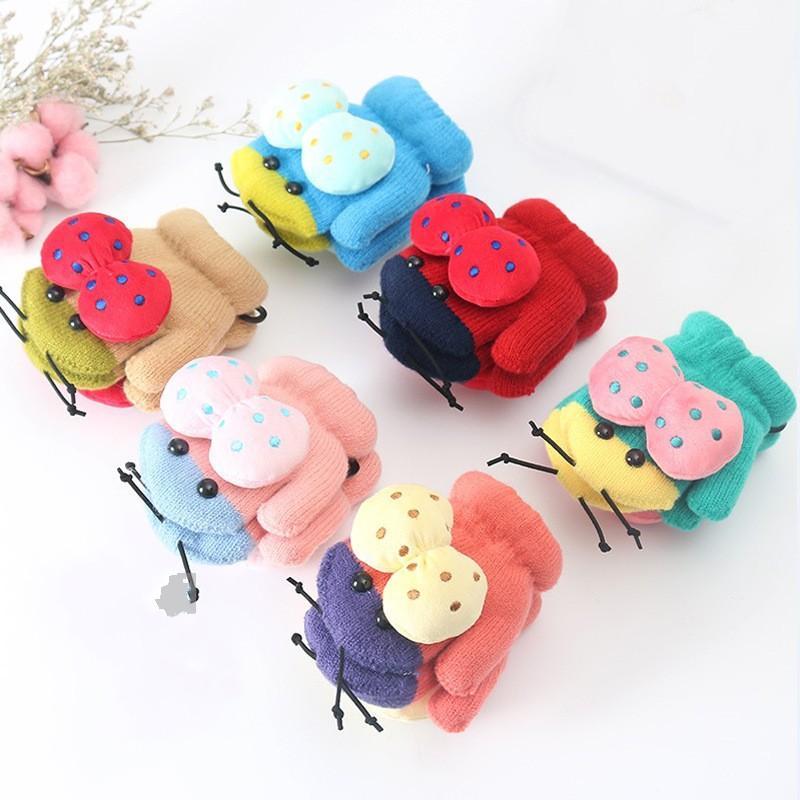 Örgü Eldiven Peluş Karikatür Bebek Yay Güzel Sıcak Halter Tutun Halter Ladybug Çocuk Eldiven Kış Eldiven 5 6 SS K2