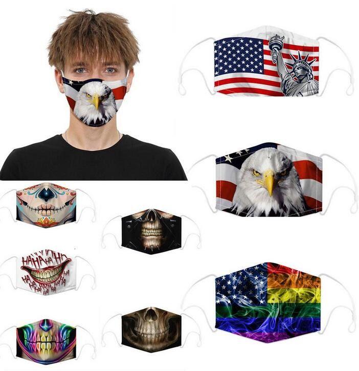 Дизайнерский флаг черепа цифровых спортивных видов спорта Хэллоуин вечеринка косплей роскошные маски для лица многоразовые пыли теплые ветрозащитные праздничные хлопчатобумажные маски