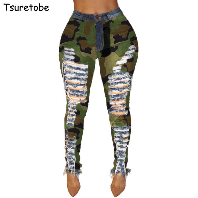 Tsuretobe magro buraco rasgado jeans mulheres casual camuflagem alta cintura cintura lápis calças moda retalhos jeans calças femininas c1123
