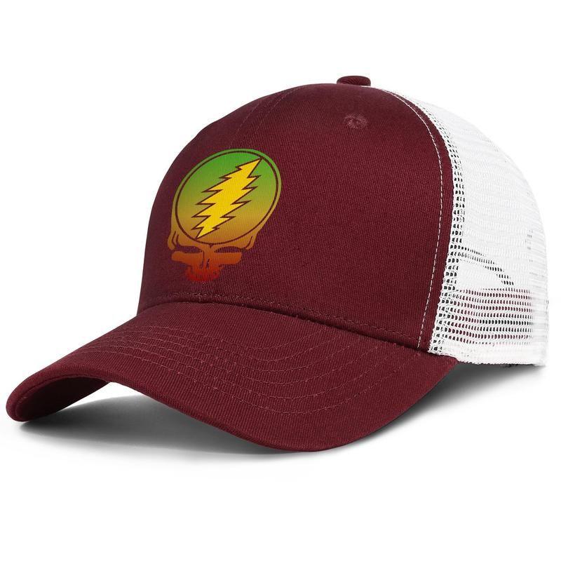 Grateful dead skull rainbow logo Adjustable Trucker Cap Fashion Baseball Hat Vintage Dad Ball Caps for Men Women white Grateful 71