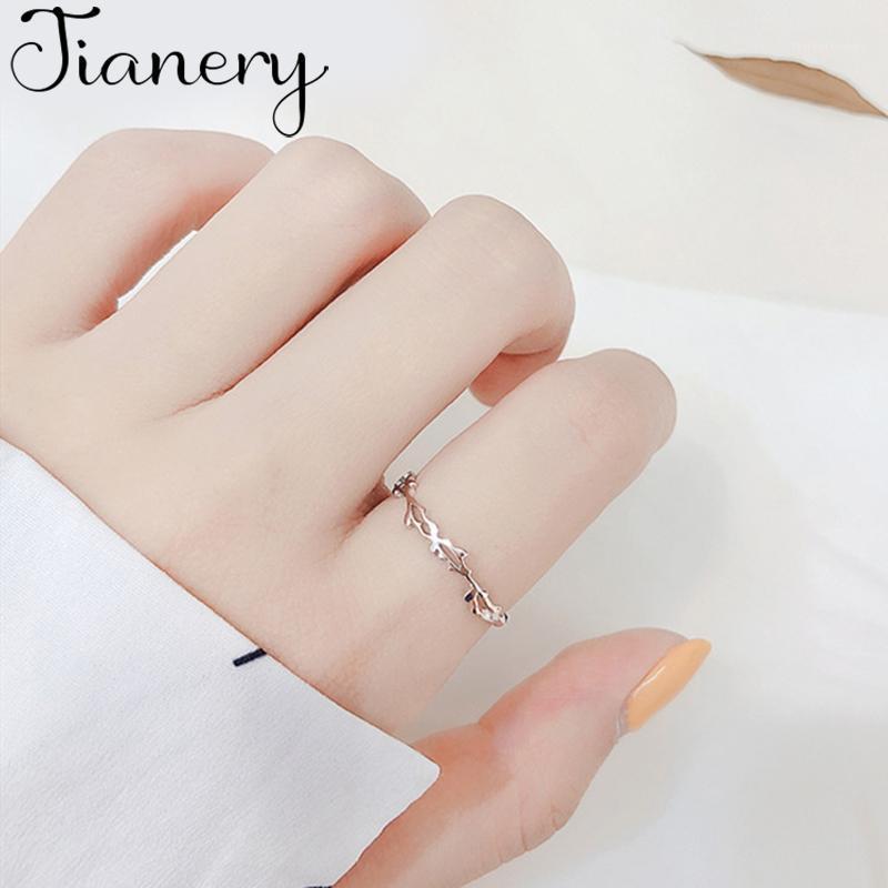 Bagues de mariage Dainty Branches Brambles Ouverture Doigt Argent Color Anneau pour Femmes Anniversary Bijoux1