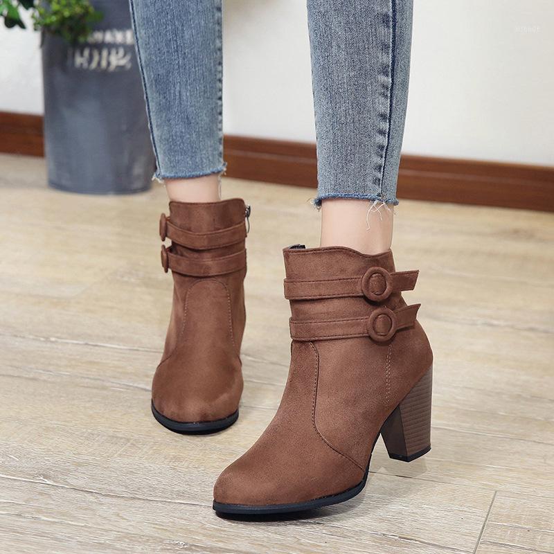 Stivali autunno inverno donne cammello caviglia nera per tacco spesso scivolare su scarpe da donna Bota feminina 35-431