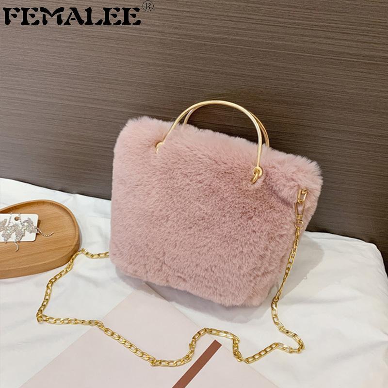 Fille Jolie fille Soft Peluches Épaule Mode Designer Faux Fourrure Hiver Chaîne Bandbody Sac Portable Dame Casual Tote Tote Sac à main Q1208