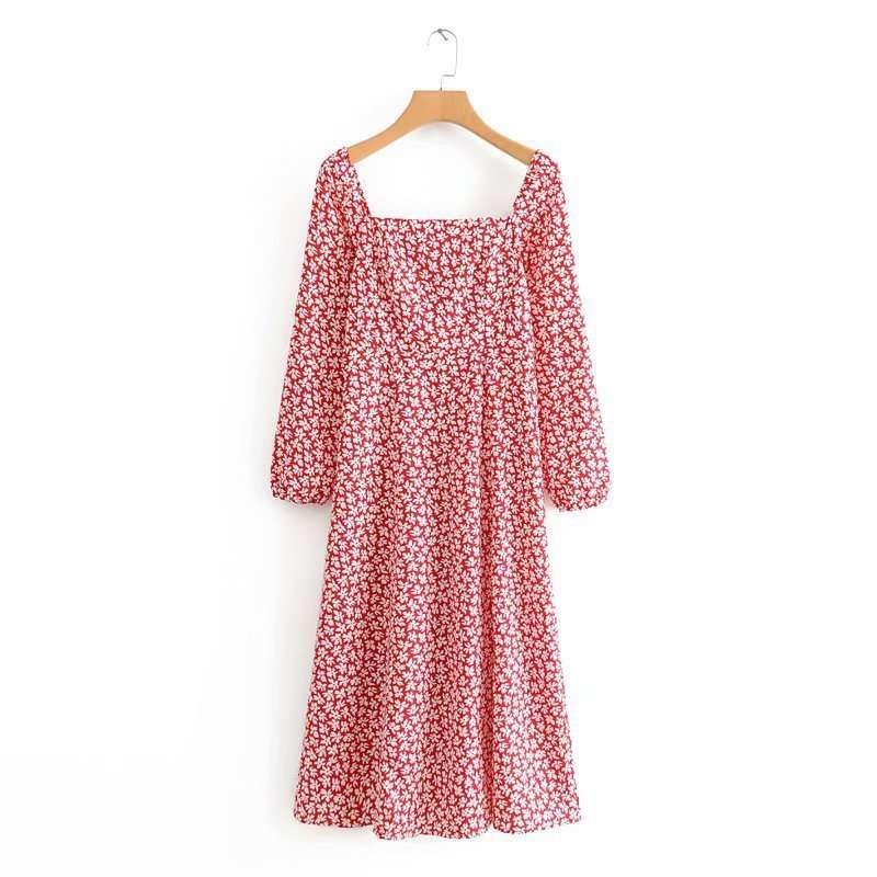 Printemps / été 2020 NOUVEAU Style carré manche à manches longues jupe longue robe de gamme PP10-30401