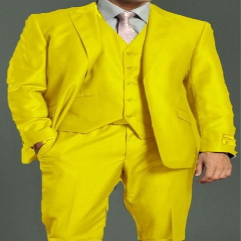 Nuovo arrivo Bell'uomo giallo uomini da sposa abiti Slim fit morning formale smoking smoking 3 pezzi groomsman tuta giacca + pantaloni + gilet