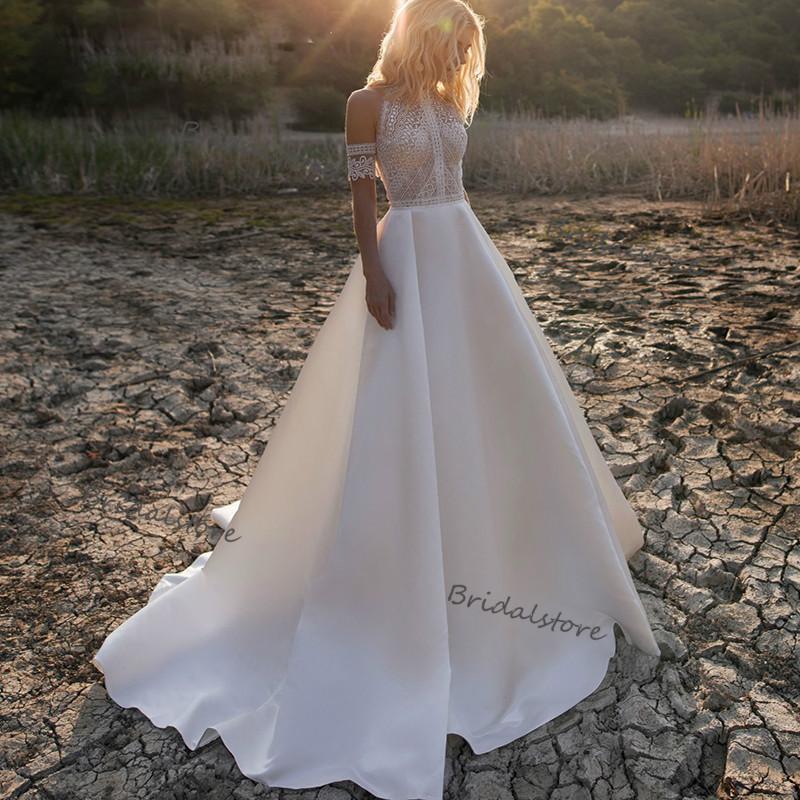Vintage Crochet Lace Boho Wedding Dress 2021 Illusion Lace Bohemian Wedding Dresses Sexy Pearls Satin Beach Weddin Dress Bridal Dress Cheap