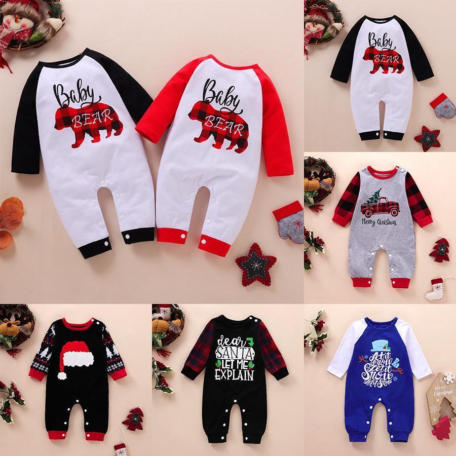 Babymädchen Junge Jumpsuits Frohe Weihnachten Strampler Santa Bär Hut Bedruckt Langarm Born Kleinkind Buffalo Ins