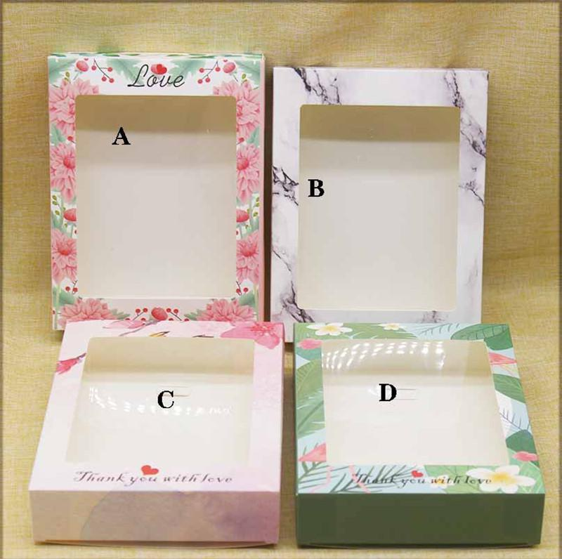 Package Box with Window DIY Handmade Gifts Box with Window Marbling Flower Pattern Kraft Candy Boxes HHA3513