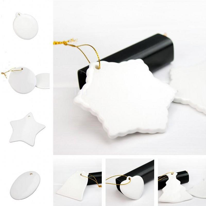 DHL سفينة فارغة الأبيض التسامي السيراميك قلادة الإبداعية عيد الميلاد الحلي نقل الحرارة الطباعة diy السيراميك حلية القلب جولة ديكور