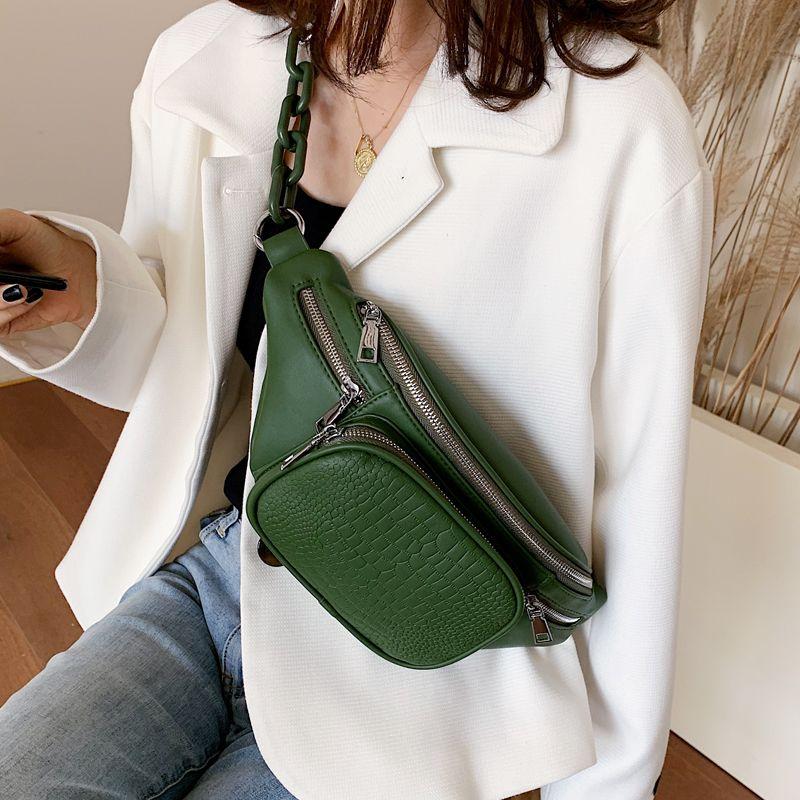 Mode Stein Muster PU Leder Kette Taille Tasche Bananka Tasche auf einem Gürtel Freizeit Fanny Pack Frauen Satchel Bauchband Gürtel Tasche LJ200824