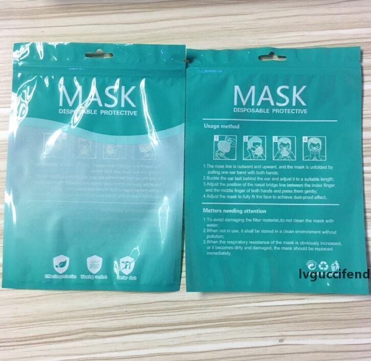 En stock Masque Sacs d'emballage Zipper Opp Sac d'emballage au détail Sacs Anglais en plastique translucide Ziplock Sac pour Masques GGA3448-4