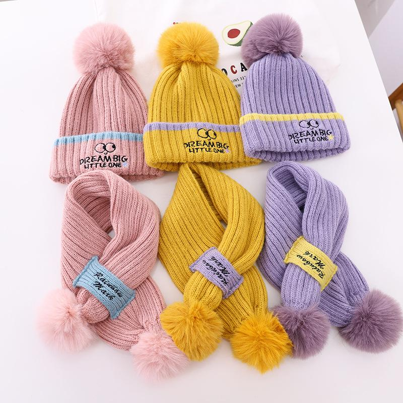 2021 New Winter children's wool hat scarf embroidered eye wool balls to keep warm baby set knitted hat