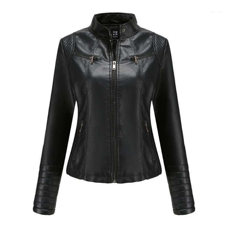 2021 Весна и осень женская кожаная куртка прочная износостойкая искусственная кожаная куртка карманная молния женщин мотоцикл джек1