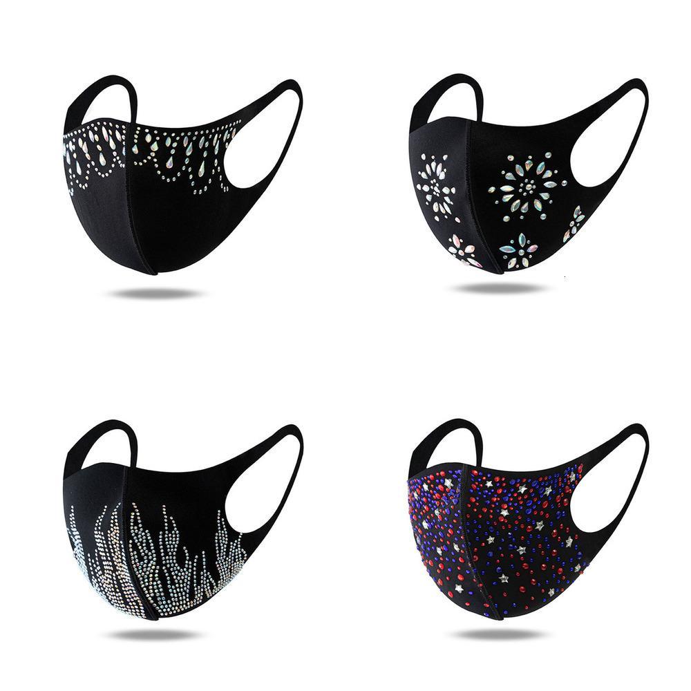 Fashion DHL Expédition strass Visage extérieur Masques à oreilles réglables Boucles d'oreille de la bouche Masque lavable Bling Decoration Kimter-X848FZ