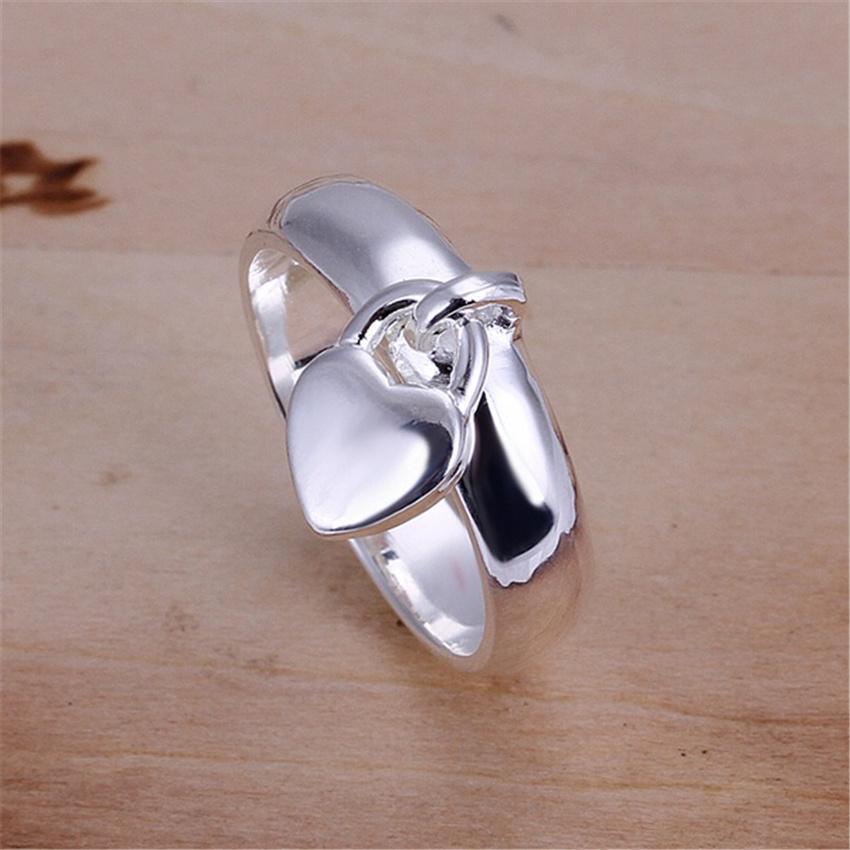 للنساء سيدة الزفاف خواتم الفضة الإناث سحر شنقا القلب قفل شحن مجاني مجوهرات R133 H SQCPBS