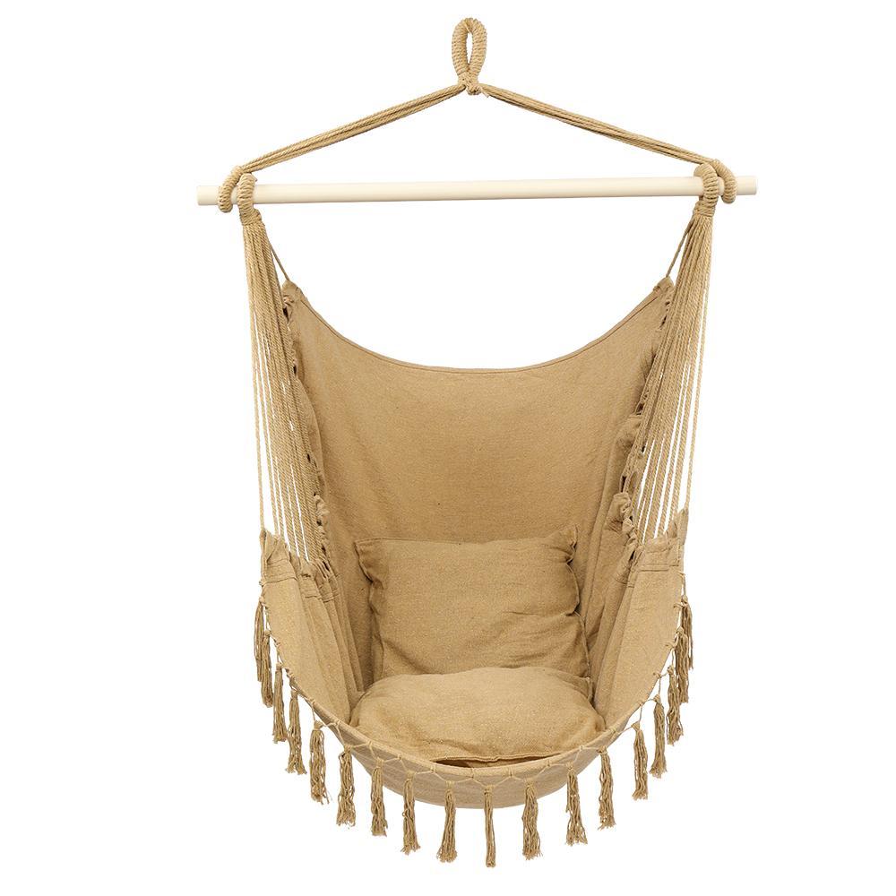1,5 * 1.2m Tassel plus oreiller suspendu chaise de café couleur café