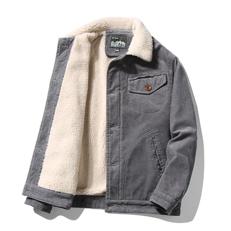 ICPANS CORDUROY COATS Мужские хлопковые карманы Свободные теплые флисовые сгущает зимние куртки PLUESE Размер XXXL 4XL