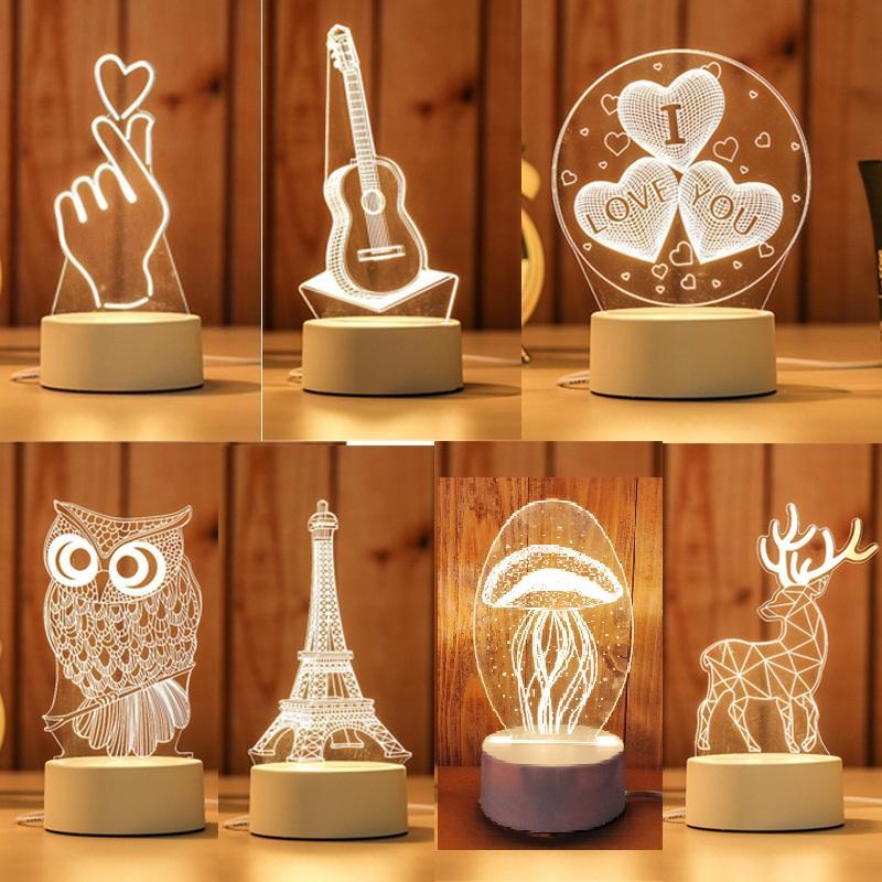 3D LED Lamba Yaratıcı 3D LED Gece Işıkları Yenilik Illusion Gece Lambası 3D Illusion Masa Lambası Ev Dekoratif Işık Için