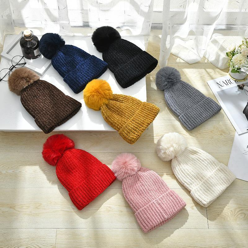 Cappelli a maglia invernale colorato per le donne femminile Pompom Pompom Pompom Poms Banda addensata Fodera biancheria calda Berretti cuscini con cappuccio Capperù Gerro