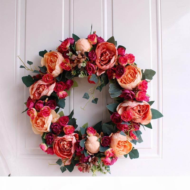 la puesta del sol de peonía Europea guirnaldas decorativas pared decoración de la puerta del hogar mayor flores de simulación del envío DIY