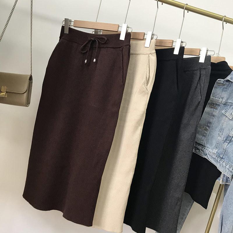 Pick up Gonna a maglia Donne Medio e Lungo Elastico Cinturino Elastico Pocket Pocket Colore Solido Donne Autunno K # 13