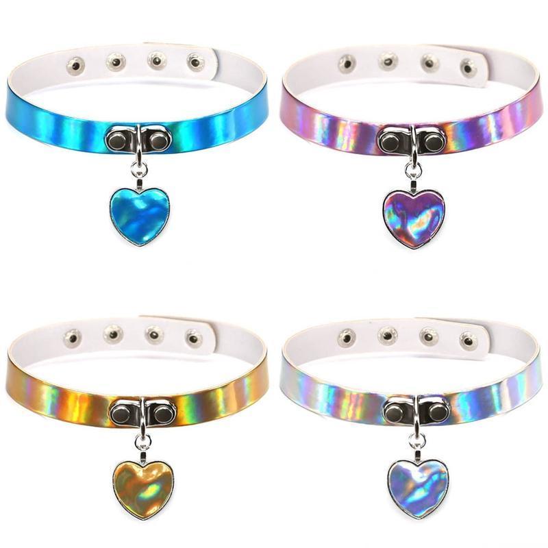 Chokers Love Punk Laser Lare Кожа Сердечные Ожерелья Женские Ножки Нарушение Запястья Ожерелье Ожерелье