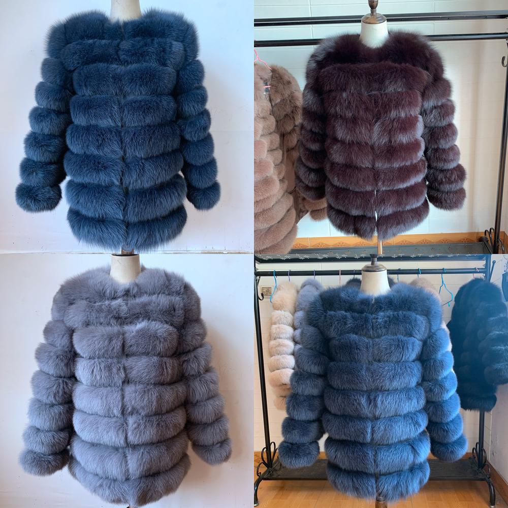 100% reale 70cm Mantel Outfit mit langen Ärmeln Qualität Silber Frauen-Winter-warmer starke natürliche Fox Pelzmäntel WXUN