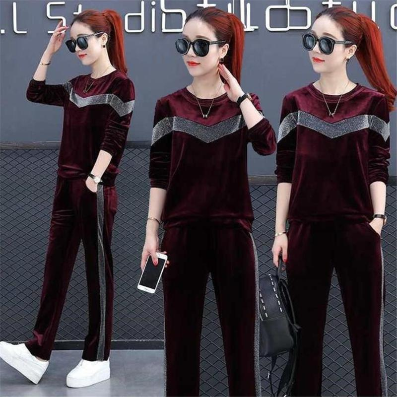 İlkbahar Sonbahar Artı Boyutu Set Kadife Tops + Uzun Pantolon 2 Parça Kadın Set Rahat Eşofman Velor Moda Spor